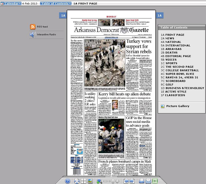 Screen shot of the Arkansas Democrat Gazette, February 4, 2013 using NewspaperDirect