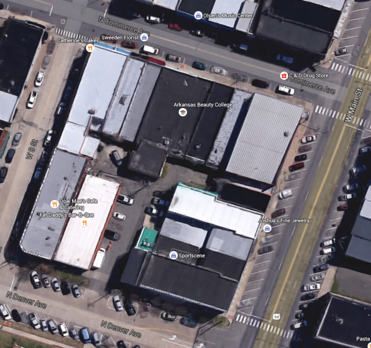 Googlemaps image of Russellville block, modern day