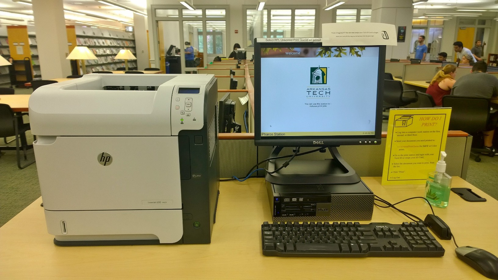 Photograph of our print stations, located directly across from the Reference Desk.