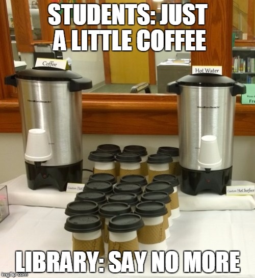 Coffee Pots, coffee cups, and a poor attempt at a meme referencing the one about barber dialogues.