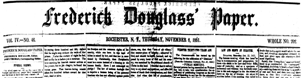 The masthead for the Frederick Douglass' Paper, November 6, 1851