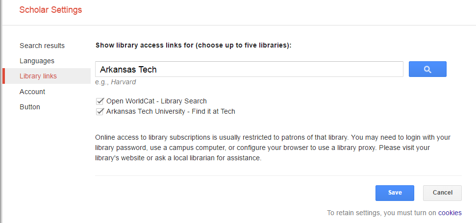 Screenshot showing library links in the google Scholar settings
