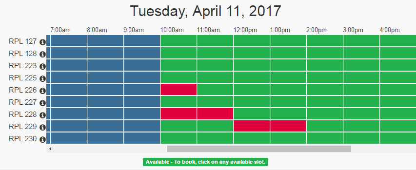Schedule indicating study rooms to reserve and which are full.