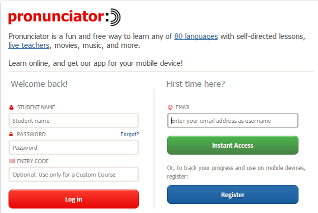 Login screen for Pronunciator database.