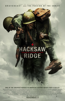 Cover of Hacksaw Ridge and a soldier carrying another soldier on his back.