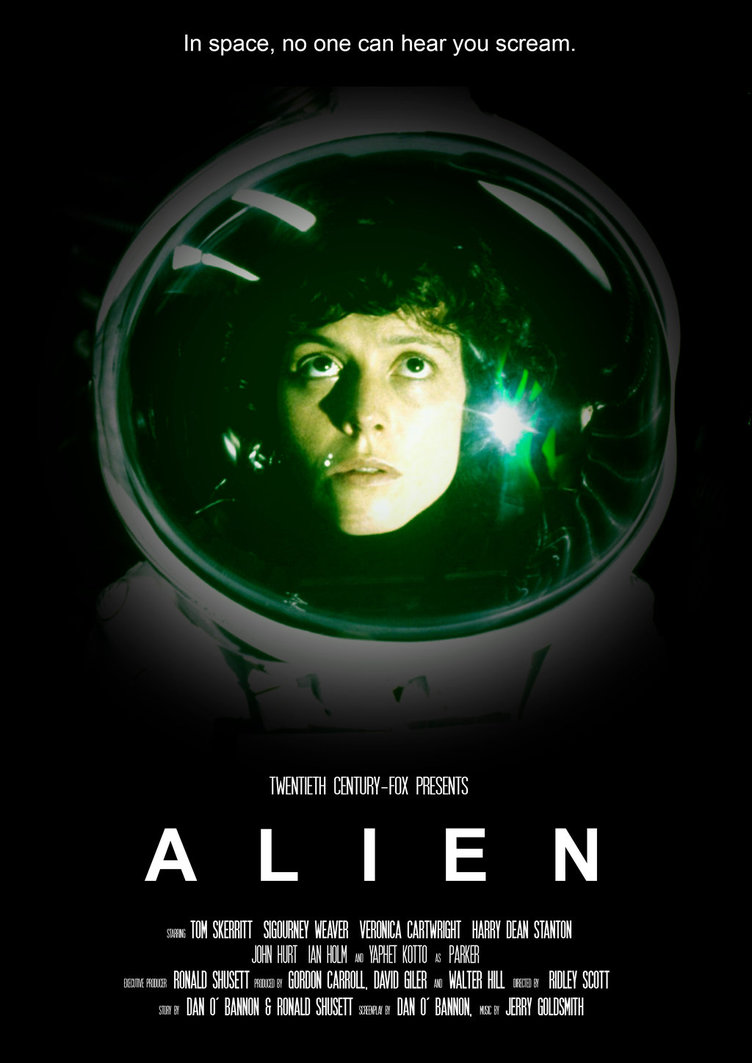 Cover of Alien with Sigourney Weaver and tagline, In space No one can hear you scream.
