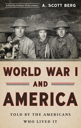 Cover of book, World War I and America, featuring typical doughboys in metal helmets.