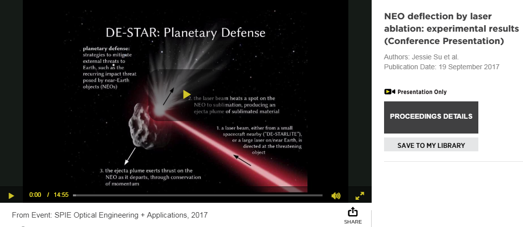 Screenshot of DE-STAR Planetary Defence conference presentation about blasting near earth objects with friggin laser beams