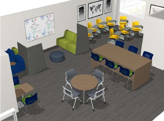 Projected look at the new TLC space featuring chairs and couches and whiteboards