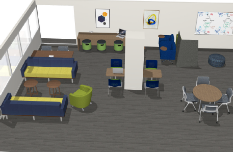 Projected view of new TLC with stools, ottomans, couches, and whiteboards