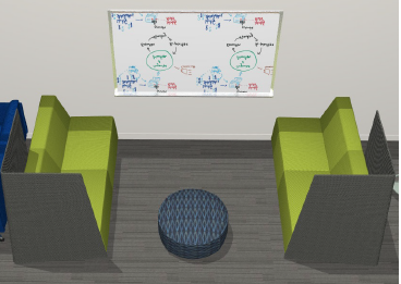 Projected view of the new study space with two green couches, an ottoman, and a whiteboard