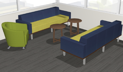 Projected view of new space with couches and a chair