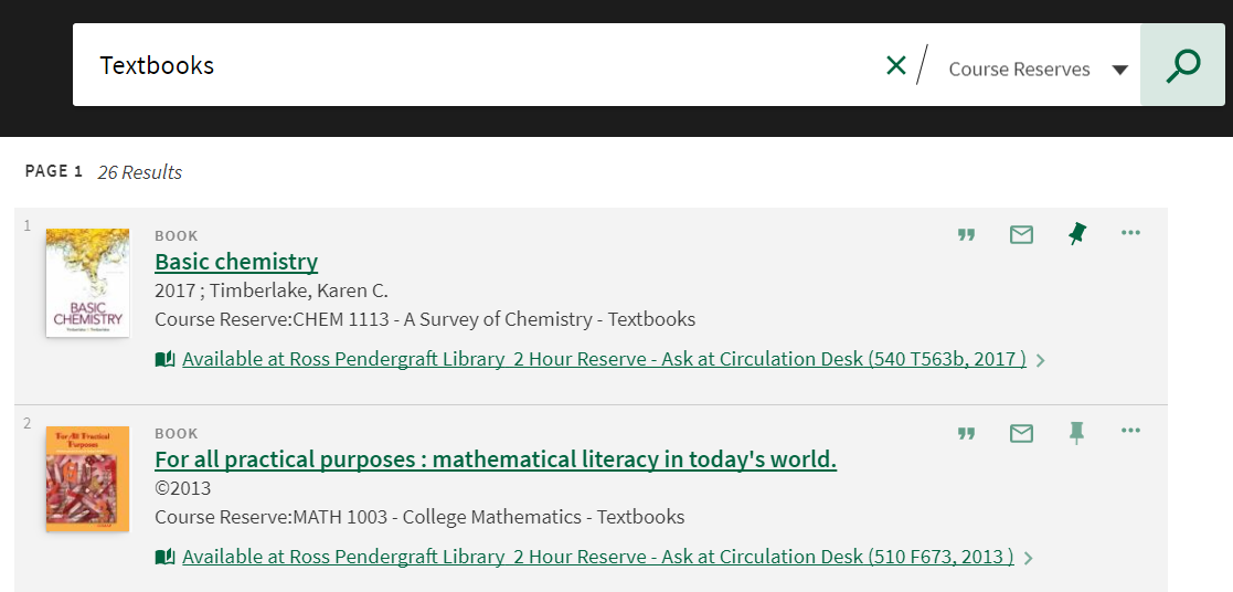 screenshot of textbooks list available for checkout.