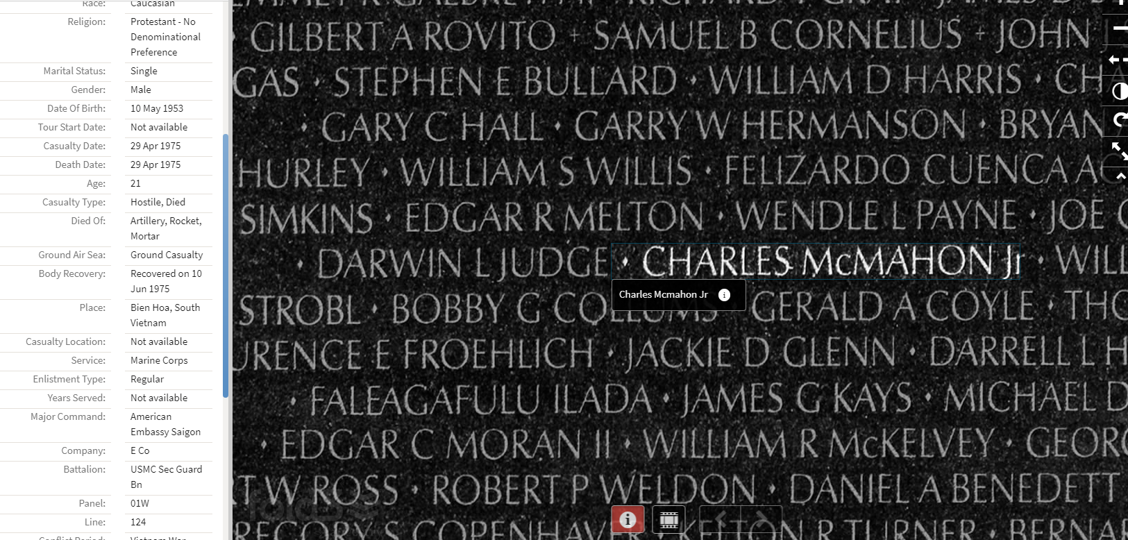 Image of Vietnam Memorial Wall, highlighting the name Charles McMahon Jr.