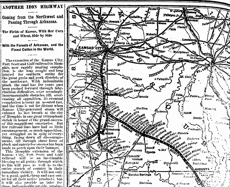 Screenshot of Weekly Gazette showing map of new Iron Railroad passing through Arkansas