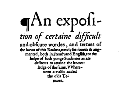 Screenshot of title page of early English text