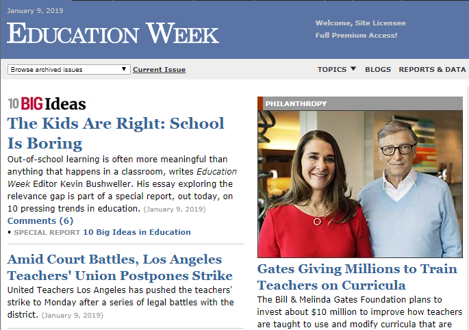 "Screengrab of front page of Education Week, where there's a headline, ""The kids are right: school is boring"" as though we didn't already know that."