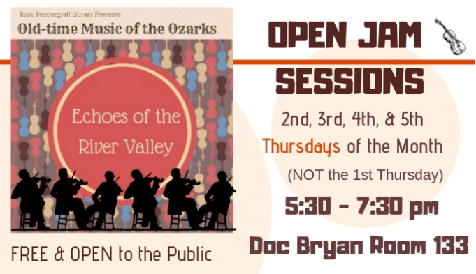 Flyer announcing Open Jam Sessions featuring a row of shadow figures playing fiddle.