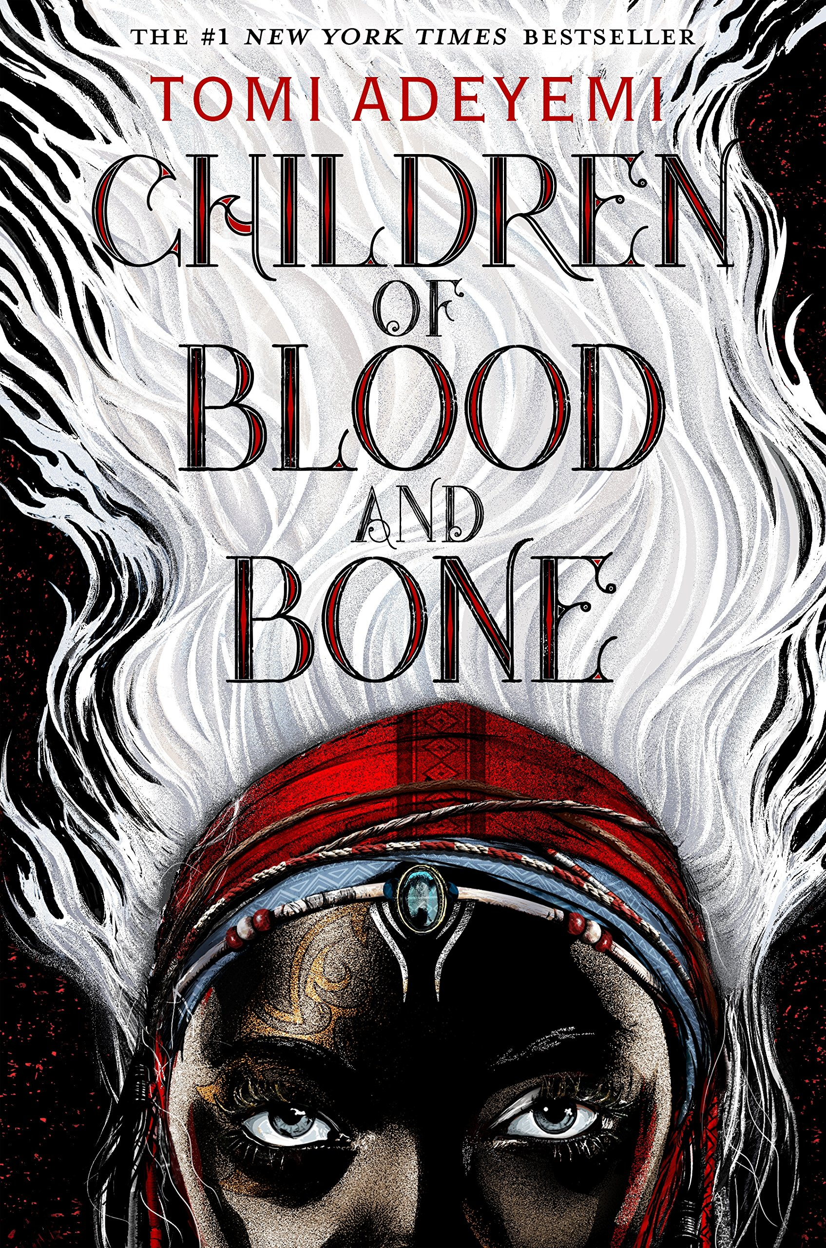 book cover of Children of Blood and Bone featuring illustration of upper half of the face of a beautiful, mysterious woman with long white hair rising up behind her.
