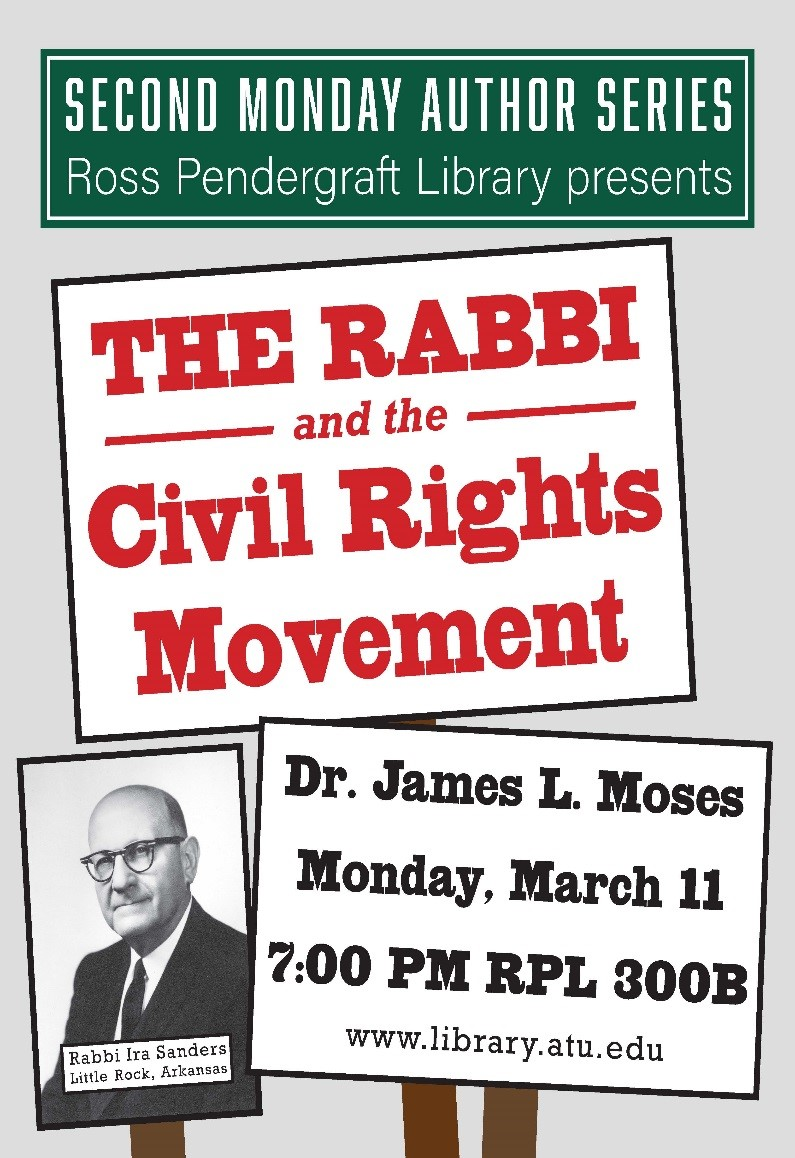 "Poster featuring Rabbi Ira Sanders advertising a talk by Dr. James Moses, ""The Rabbi and the Civil Rights Movement"""