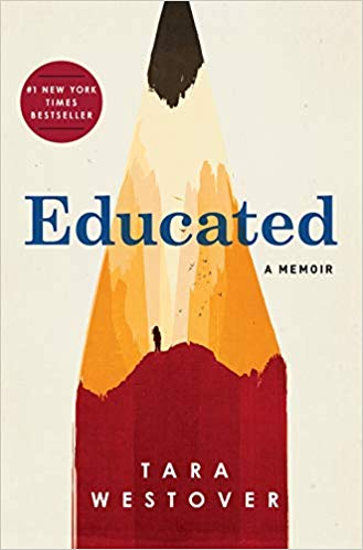 Front cover of Educated, featuring a large illustration of a sharpened end of a pencil with a shadow of a girl on a mountain drawn into the pencil