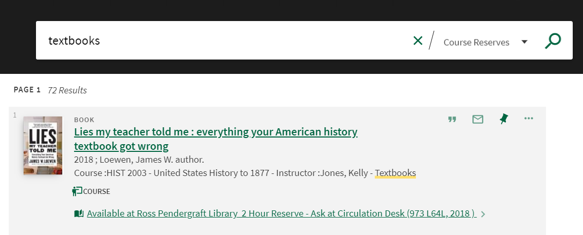 Screenshot of browsing the word Textbooks in our online database to find all course reserve textbooks